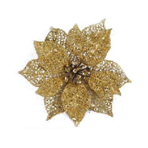 gold poinsettia flower on clip 17cm decorations for