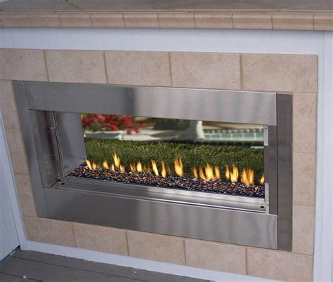 sided fireplace outdoor fmi berlin lights 44 quot linear vent free outdoor fireplace