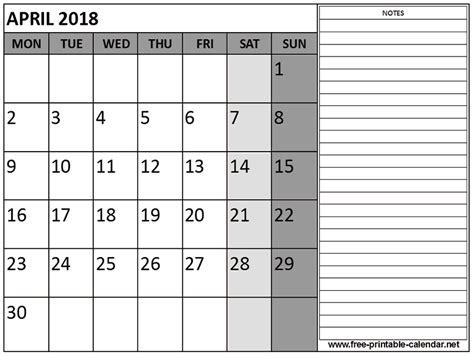 april 2018 monthly calendar blank printable templates