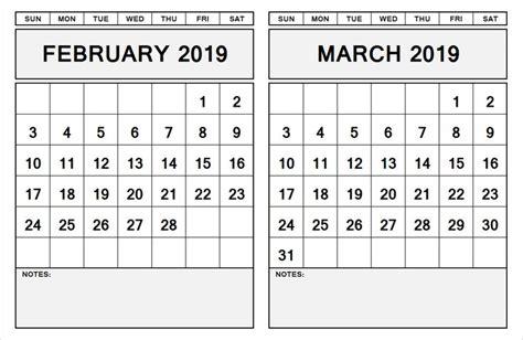 month calendar february march  printable calendar template  calendar  monthly