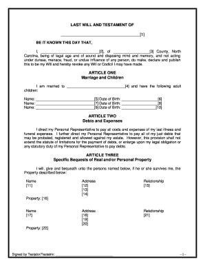 Last Will And Testament Form Forms And Templates Fillable Forms Sles For Pdf Word Nc Last Will And Testament Template