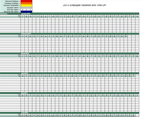 yearly vacation calendar template 2013 employee vacation tracking calendar template