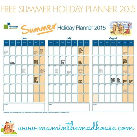 free printable holiday planner 2015 free summer planner and share your top family meal and win