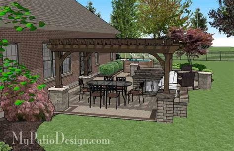 creative brick patio design with pergola and tub