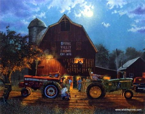 Artist Dave Barnhouse Unframed Tractor Art Print The Rematch   WildlifePrints.com