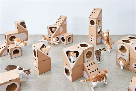 designboom cat furniture this modular cat furniture is made from cardboard boxes