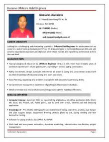 Mechanical Field Engineer Sle Resume by Resume Offshore Field Engineer Quality Engineer Resume Sle Ebook Database Sle Resume Of A