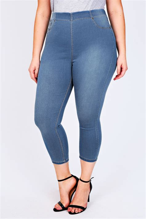 idw081 blue size 14 5 vintage wash blue cropped denim jegging plus size 14 to 28