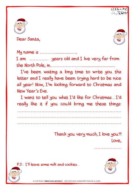 The Gallery For Gt Cute Blank List Template Santa Claus Letter Template