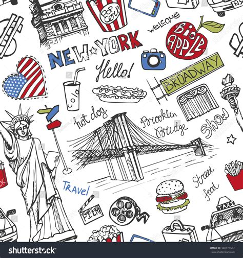new doodle new york doodle seamless patternamerican travel stock