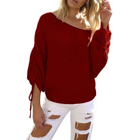 T Shirt Pullover Sweatshirt damen bluse langarm pullover jumper t shirt schulterfrei