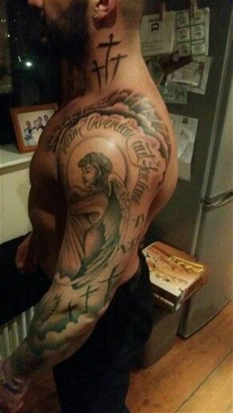 latin tattoo sleeves religious sleeve roses crosses crucifix harp dove