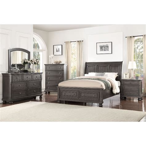 classic traditional gray  piece queen bedroom set stella rc willey furniture store