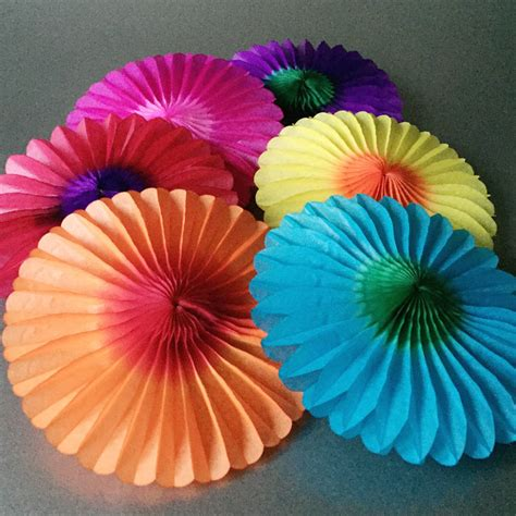 How To Make A Tissue Paper Fan - six paper tissue rainbow fan decorations by pearl and earl