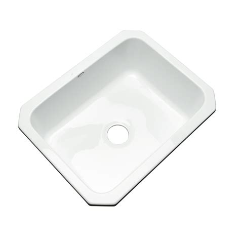 white undermount single bowl kitchen sink shop dekor master 18 25 in x 25 in white single basin