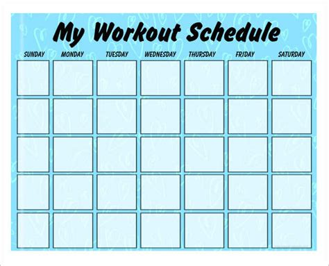 workout char template 4 sle workout schedule 4 documents in excel pdf
