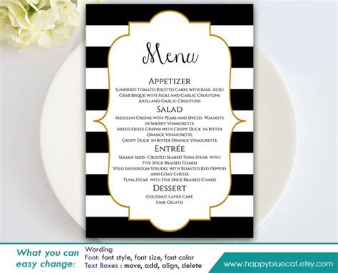 free editable menu templates diy printable wedding menu template instant