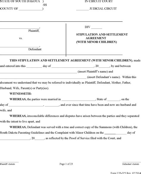 south dakota stipulation and settlement agreement