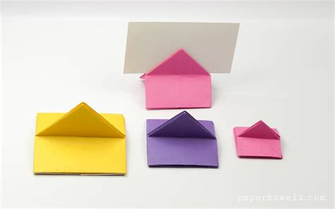 How To Make A Shaped Paper - origami house shaped card stand paper kawaii