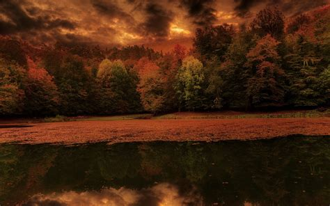 Dusk Autumn Forest Lake Water Nature Landscape Lake Leaves Forest Fall Sunset Sky