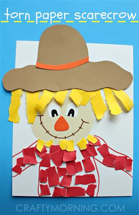 Scarecrow Paper Craft - torn paper scarecrow craft for colored paper
