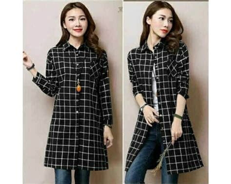 Dress Tunik Putih Navy baju korea tunik kotak black