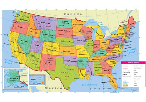 political map of the united states of america united states political map