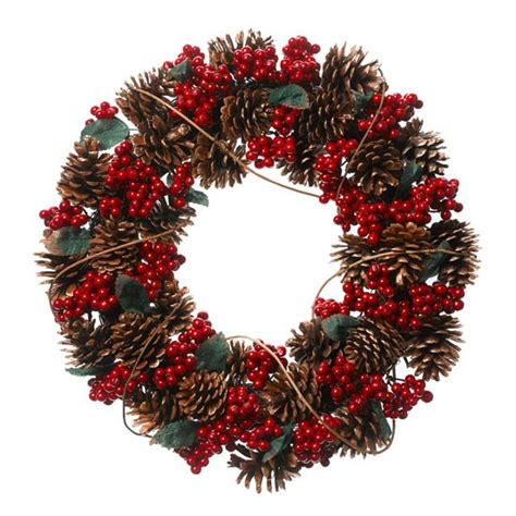 frosty pine cone and berry wreath by linea at house of