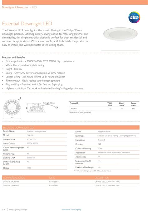 Lu Philips Led Essential 12w philips essential led dimmable downlight fixture 12w 90mm