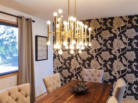dining room with modern brass chandelier hgtv