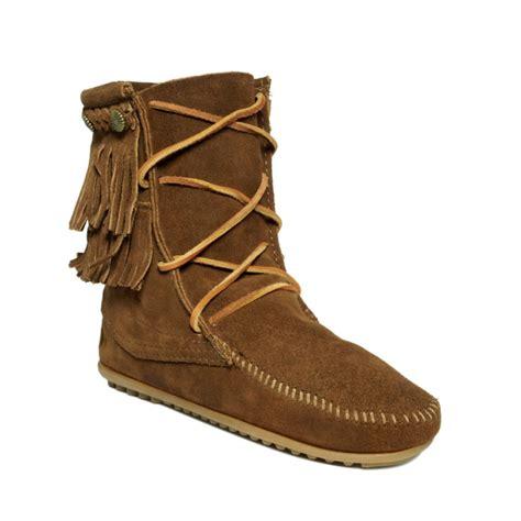 minnetonka boots for minnetonka fringe trer ankle boots in brown