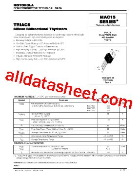datasheet transistor mdl 3088 mac15d datasheet pdf motorola inc
