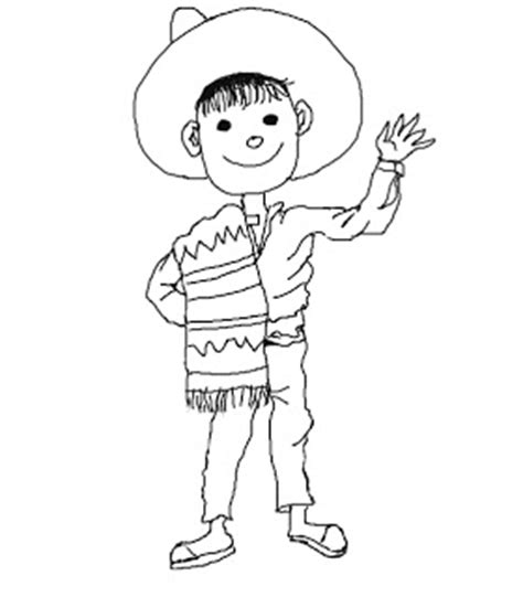 mexican boy coloring page spanish black and white clipart clipart suggest