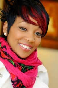 tankard hairstyles short black hairstyle with fiery red fringe monica