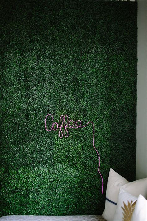 artificial boxwood accent wall  diy neon sign plant