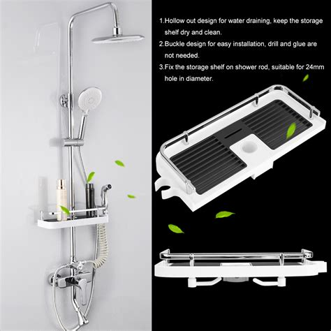 bathroom organizer tray shower rod storage shelf organizer tray holder practical
