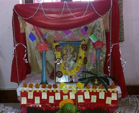 home decoration for puja saraswati puja decoration pooja room and rangoli designs