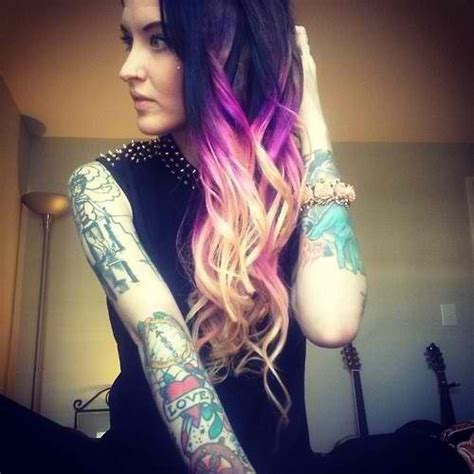 blonde with tattoos black purple and hair ombr 233 hair colors