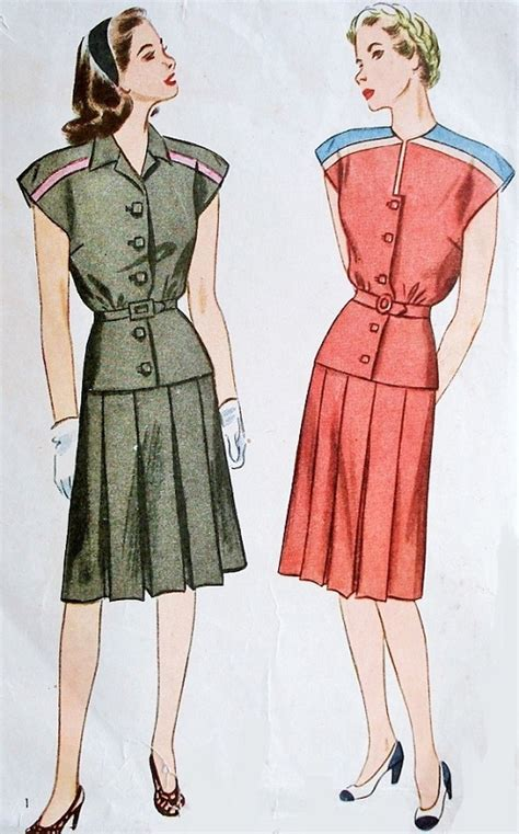 1940s two pc dress pattern simplicity 1344 two neckline