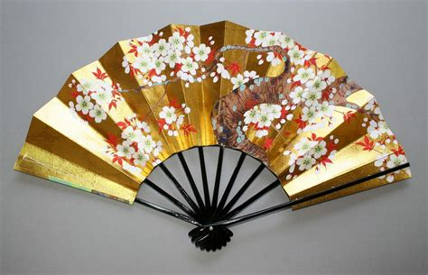 Cool Frame Designs by Handmade Japanese Fan Gold Leaf Maple And Cherry Blossom