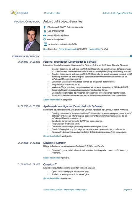 Modelo Curriculum Vitae Europeo Español Antoniojulia Es