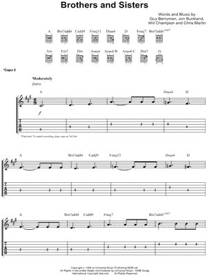 free download mp3 coldplay brothers and sisters coldplay quot brothers and sisters quot guitar tab download print