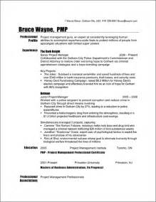 Resume Canada Format Project Manager Resume Sample Batman