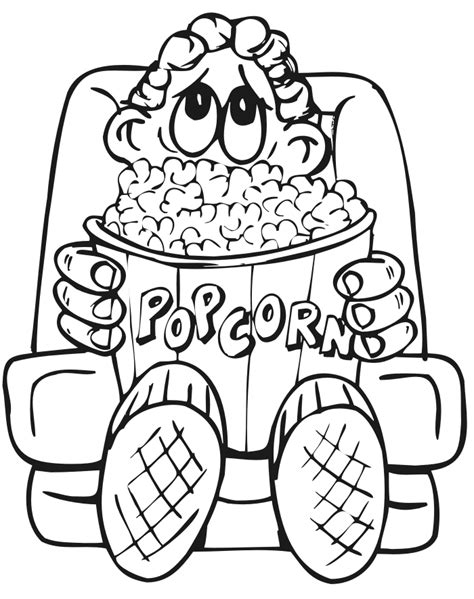 family coloring page boy eating popcorn at movie