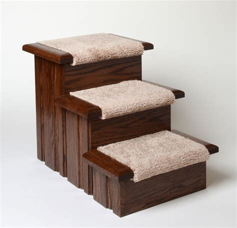 dog bed steps oak wood carpeted pet stairs