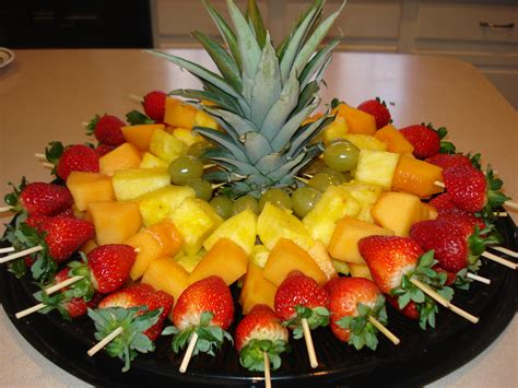 How To Decorate Cheese Platter by Fruit Skewers For A Cut Top Of Pineapple To