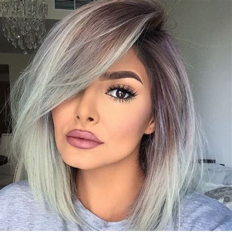what bold colors would look good in medium brown hair picture of balayage brown to grey medium length hair