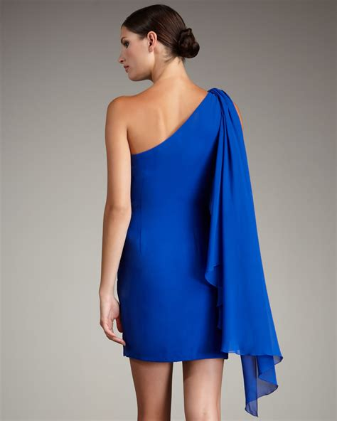 draped grecian dress notte by marchesa draped grecian dress in blue lyst