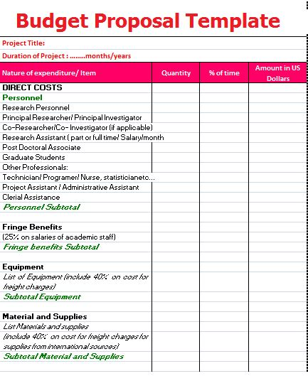 research proposal layout exle 14 budget proposal templates printable word excel