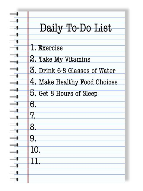 printable 5 day to do list 5 tips for taking care of your health yesterday on tuesday